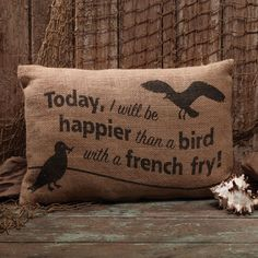 Burlap Bird/ French Fry Pillow The Country House Online Store