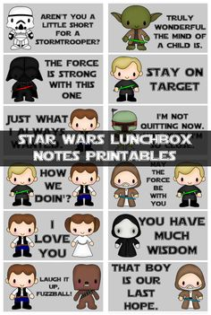 Back to School Printable Lunch Box Planners Notes & Jokes - Printable Star Wars - Ideas of Printable Star Wars - Star Wars Lunchbox Notes Printables My Sweet Sanity Kids Lunch For School, School Days, Back To School, School Lunches, Star Wars Birthday, Star Wars Party, Lunch Box Notes, Lunchbox Notes For Kids, Star Wars Crafts