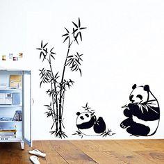 Lovely Pandas Bambus Wandtattoo House Aufkleber abnehmbarer Wohnzimmer Tapete Schlafzimmer Küche Art Bild Wandmalereien Sticks PVC Fenster Tür Dekoration + 3D Frosch Auto Aufkleber Geschenk