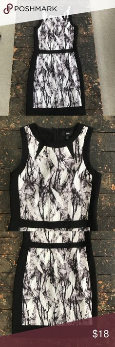 EUC Black Dress Worn once! Black dress with marble like print on the front, zips up the back Mossimo Supply Co Dresses