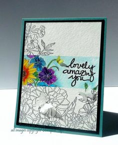 Stampin' Up! ... hand crafted card from Inspiration Within ... Corner Garden ... watercolor and black line  stamping ... luv this variation of the spotlight technique ... band of bright color with the sentiment ...