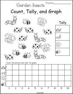Free Insects Count, Tally, and Graph Worksheet for Kindergarten. This page comes… Free Insects Count, Tally, and Graph Worksheet for Kindergarten Prep, Kindergarten Math Worksheets, Preschool Math, Maths, Graphing Worksheets, Graphing Activities, Printable Worksheets, Free Printable, Insect Activities