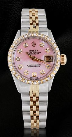 Ladies pink mop diamond dial watch rolex datejust jubilee bracelet two tone - ladies-pink-mop-diamond-dial-watch-rolex-datejust-jubilee Elegant Watches, Beautiful Watches, Rolex Datejust, Luxury Watches, Rolex Watches, Diamond Watches, Cool Watches, Watches For Men, Ladies Watches