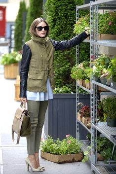 Olivia Palermo- army green and leather jacket, pant, bag, and nude bowtie nude pumps
