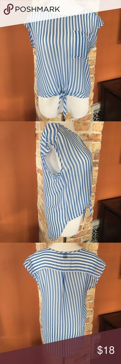 {Forever 21} top Sheer, blue and white vertical stripes..tie front..high low hemline...pocket on chest. EUC! Forever 21 Tops