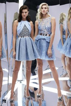 Zuhair Murad Spring 2017 RTW: Ice Blue Creations! The ice blue dress on the left is stunning! I like the mixed fabrics. The ice blue dress on the right has beautiful embellishments and a lovely asymmetrical peplum detail.
