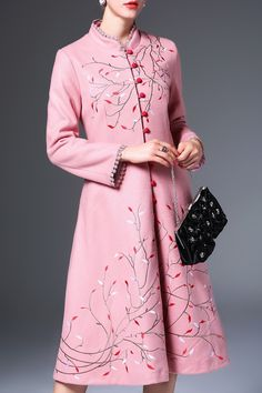 Single Breasted Embroidered Skirted Coat #women, #men, #hats, #watches, #belts