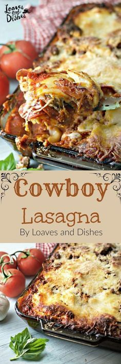 This Cowboy Lasagna is a terrific version of Pepperoni Lasagna a recipe from Trish Yearwood This is easy to make and very filling Invite friends for this recipeSimmeredin. Italian Recipes, Beef Recipes, Cooking Recipes, Lasagna Recipes, Recipies, 3 Meat Lasagna Recipe, Lasagna Recipe Easy Ricotta, Crock Pot Lasagna, Recipes With Lasagna Noodles