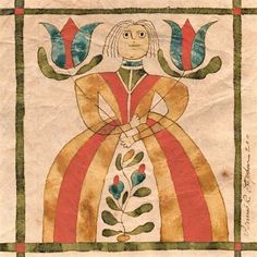 Fraktur German Folk, Primitive Painting, Naive Art, Aboriginal Art, Religious Art, Textiles, Traditional Art, Graphic Illustration, Watercolor Art