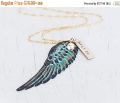 GRADUATION SALE Gift for Her / Charm Necklace / Wing Necklace / Inspirational Jewelry /Green Patina Jewelry / Personalized Graduation Gift by amywaltz #TrendingEtsy