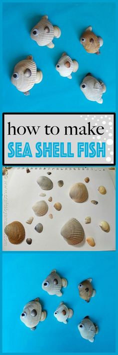 You're home from the beach with a collection of shells, and now you need something to do with all of them! The kids will love making this school of fish made from seashells, and you can save them as momentos from your vacation. Sea Crafts, Fish Crafts, Nature Crafts, Crafts To Make, Crafts For Kids, Arts And Crafts, Projects For Kids, Baby Crafts, Seashell Art