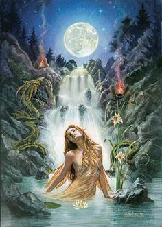 Moon Falls PrintReproduced from original paintings by Briar, English Mythology Artist.Briar's Art Mythology Prints present to you Briar's visionary, esoteric and evocative themes which are captured beautifully in these high quality prints. Dark Fantasy Art, Fantasy Kunst, Beautiful Fantasy Art, Beautiful Fairies, Fantasy Creatures, Mythical Creatures, Goddess Art, Moon Goddess, Autumn Art