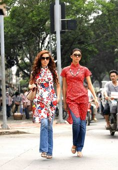 "Cropped Printed Ao Dai from ""Spring Garden"" Collection- Vo Viet Chung"