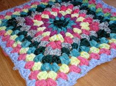 Shabby Chic Vintage Style Granny Square Rag Rug by Thesunroomuk | Craftjuice Handmade Social Network..EASY IDEA & GREAT FOR T-SHIRT YARN!!