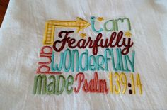Embroidered scripture dish towel, flour sack towel, kitchen towel, tea towel, Psalm 139:14, I am Fearfully and Wonderfully Made by jessiemae on Etsy