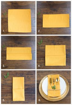 how to fold napkins for a fall table or thanksgiving table using yellow napkins Thanksgiving just wouldn't be the same without a warm house filled with loved ones and good food. Gathering around a table together to catch-up, tell jokes, and Christmas Napkin Folding, Paper Napkin Folding, Christmas Napkins, Thanksgiving Tafel, Thanksgiving Tablescapes, Thanksgiving Napkin Folds, Ostern Party, Wedding Napkins, Wedding Table