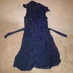 FLETCHER BY LYELL SMALL BLACK POLKA DOT DRESS FLETCHER BY LYELL SMALL BLACK AND BROWN POLKA DOT SLEEVELESS KNEE LENGTH TIE WRAP DRESS Urban Outfitters Dresses Midi