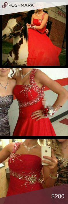 Red prom dress One shoulder embellished ball gown Dresses Prom