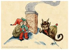 Krampus Vintage Style Holiday Card - Krampus and Cthulhu's Christmas Collection 2016