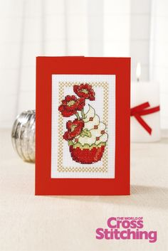 Cupcake of the Month - poppies, cross stitch design by The World of Cross Stitching,  issue195