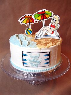 This beach themed cake was a lot of fun to make. I got to experiment on making waves out of buttercream and hand painting on gumpaste cut-outs. #beachcake #2dfondantcutouts