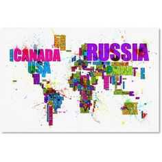 Trademark Fine Art Text Map of the World Canvas Art by Michael Tompsett, Size: 22 x 32, Multicolor