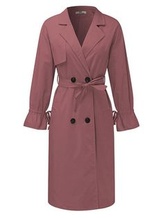 Elegant Women Pure Color Lapel Belted Trench Coat