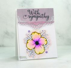 For this card, I show one way to obtain flower watercolor blending. I also share a way to add paper layers to make a card topper. Watercolor Projects, Watercolor Paper, Watercolor Flowers, Unity Stamps, Basic Grey, All Paper, Sympathy Cards, Cute Cards, One Color