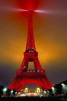 Eiffel Tower decorated for Chinese New Year, Paris, France, Europe