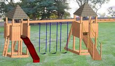 Plans Available  I really like the two forts separated by the swings.  I'm wondering if we could make them taller, and separate them by a walkway, which the swings hang from.  One could connect to the McD's playunit. Outdoor Swing Sets, Outdoor Fun, Swing Set Plans, Nerf War, Play Gym, Wood Bridge, Forts, Swings, Diy Woodworking