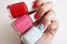 summer essie nail polishes: lollipop, status symbol, borrowed and blue