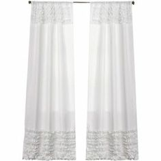 """Bring a feminine touch to any space with this lovely ruffled curtain.   Product: Curtain panelConstruction Material: PolyesterColor: WhiteFeatures: Rod pocket slides onto curtain rod for installationDimensions: 84"""" H x 54"""" W Note: Image depicts two curtain panels, but price is for oneCleaning and Care: Dry clean"""