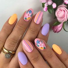 Surprising Spring Flower Nail Art Designs To Try In 2020 – ShelbyFashions Short Nail Designs, Nail Designs Spring, Nail Art Designs, Nails Design, Flower Design Nails, Nail Art Flowers Designs, Tropical Nail Designs, Popular Nail Designs, Square Nail Designs