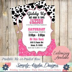 Cowgirl Birthday Party Invitation  Western by SimplyKayleeDesigns