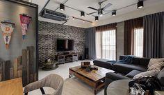 Темная кирпичная стена в интерьере гостиной #кирпич #дизайн #интерьер #декор #тренды #стиль #стена #лофт #brick #wall #interior #design