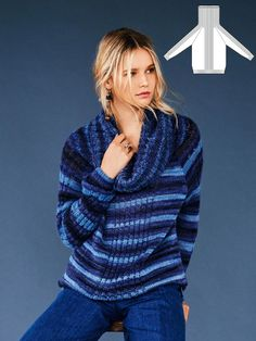 Stars in stripes! This sweater with a dropped stitch pattern and a wide collar drapes for an especially cool look with its loose fit and raglan sleeves.
