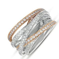 14k 1.29 Dwt Diamond White and Pink Gold Pave Ring - JewelryWeb - http://www.wonderfulworldofjewelry.com/jewelry/rings/14k-129-dwt-diamond-white-and-pink-gold-pave-ring-jewelryweb-com/ - Your First Choice for Jewelry and Jewellery Accessories