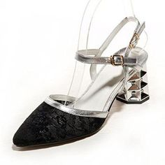 Nine Seven Genuine Leather Womens Pointy Toe Contrast-stitching Lace Ankle-strap Chunky Heel Handmade Sandal