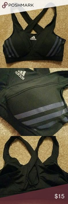 Adidas medium sports bra climacool Activewear Black and dark blue. Straps criss-cross in back. Great used condition.  Bundle up and save Adidas  Intimates & Sleepwear Bras