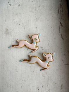 Pair of Painted Deer Scatter Pins