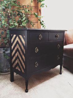 SimplyCozyRestoration: Chevron Black and Gold Dresser - Dresser - Ideas of Dresser Diy Furniture Projects, Paint Furniture, Furniture Makeover, Furniture Design, Chevron Furniture, Refurbished Furniture, Repurposed Furniture, Gold Dresser, Chevron Dresser