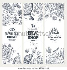 Bakery background. Linear graphic. Bread banner collection. Vertical banner set. Bread and pastry collection. Bread house. Engraved top view illustration. Flat lay. Vector illustration