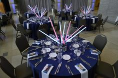 How great are these light saber centerpieces?  They corresponded with our summer Star Wars exhibit!  Photo by Don Distel Photography.  #Indianapolis #event #venue #IndianaStateMuseum