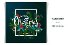 Merry Christmas card with lettering by Nataliya Stupnikova on Creative Market
