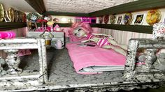 Room 9a The Monster High bedroom of Rochelle Goyle perched above the Study Hall. Ode to Paris and stone in decor!  http://www.superbuddiesforever.com/ #monsterhighdollhouse #dollbed