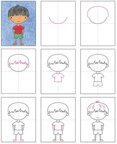 How to Draw Boys · Art Projects for Kids Basic Drawing For Kids, Drawing Lessons For Kids, Easy Drawings For Kids, Drawing For Beginners, Art For Kids, How To Draw Kids, Projects For Kids, Art Projects, Boy Drawing