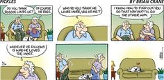 Pickles for 9/26/2021 Older Couples, Comic Strips, Pickles, Thinking Of You, How To Find Out, Humor, Comics, Im Not Perfect, Cartoons