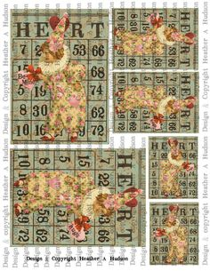 Items similar to Victorian Vintage Shabby Roses Pink Valentine's Clown Bingo Card Focals ATC Digital Collage sheet Printable on Etsy Clown Suit, Valentine Bingo, Tiny Tags, A2 Size, Bingo Cards, Graphic 45, Shabby Vintage, Collage Sheet, Digital Collage