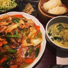 お昼は中華でした  #中華料理#ご馳走様でした#あんかけ#麺類#lunch#あんかけ焼きそば#instalunch#noodles#お腹いっぱい
