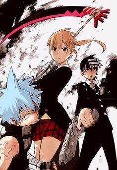 Soul Eater - Black Star, Maka, and Kid with Tsubaki, Soul, Liz, and Patty in weapon form